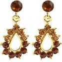 Brown Diamante Teardrop Short Drop Earrings