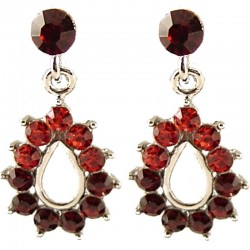 Red Diamante Teardrop Short Drop Earrings