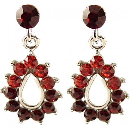 Simple Trendy Costume Jewellery, Chic Fashion Women Gift, Red Diamante Teardrop Short Drop Earrings
