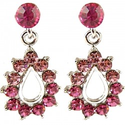 Fashion Young Women Girls Gift, Costume Jewellery, Pink Diamante Teardrop Short Drop Earrings