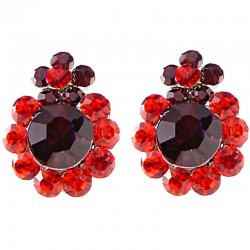 Chic Fashion Costume Jewellery Bold Earring Studs, Red Burgundy Diamante Double Flower Large Stud Earrings