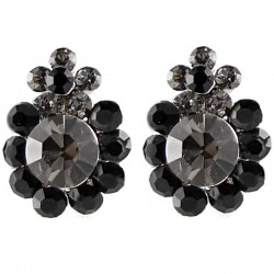 Chic Fashion Women Costume Jewellery Earring Studs, Black Grey Diamante Double Flower Large Stud Earrings