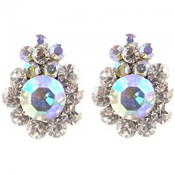 Chic Fashion Costume Jewellery Bold Earring Studs, Clear AB Diamante Double Flower Large Stud Earrings