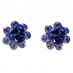 Small Costume Jewellery, Dainty Flower Earring Studs, Royal Blue Enamel Rose Diamante 1cm Stud Earrings