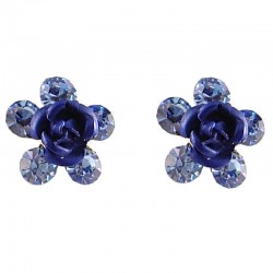 Small Costume Jewellery, Dainty Fashion Earring Studs, Royal Blue Enamel Flower Rose Diamante Flower Stud Earrings
