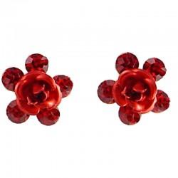 Small Costume Jewellery, Dainty Earring Studs, Cute Red Enamel Flower Rose Diamante Flower Stud Earrings