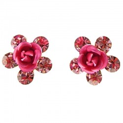 Small Costume Jewellery, Dainty Earring Studs, Cute Pink Enamel Flower Rose Diamante Flower Stud Earrings