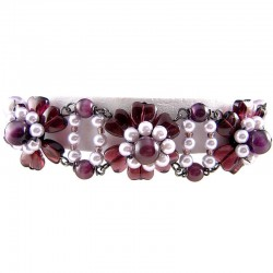 Women's Girls Gift, Fashion Chic Costume Jewellery,Purple Bead & Lilac Pearl Floral Bracelet