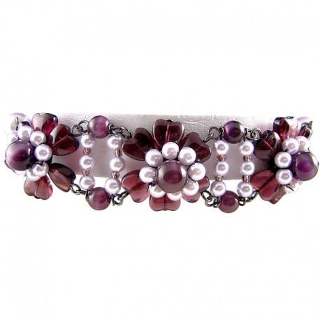 Women's Girls Gift, Fashion Chic Costume Jewellery,Purple Bead & Lilac Pearl Floral Bracelet