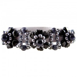 Women's Gift, Fashion Costume Jewellery, Black Bead & Grey Pearl Floral Bracelet