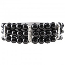 Women's Party Costume Jewellery, Fashion Gift, Black Faux Pearl Clear Diamante Spacer Stretch Bracelet