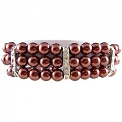 Fashion Women's Gift, Classic Costume Jewellery, Brown Faux Pearl Clear Diamante Spacer Stretch Bracelet