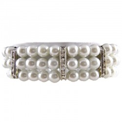 Elastic Stretchy Costume Jewellery, Fashion Women Gift, White Faux Pearl Clear Diamante Spacer Stretch Bracelet