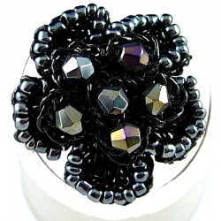 Big Bold Statement Costume Jewellery, Black Bead Crochet Beaded Fashion Flower Ring