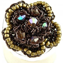 Big Bold Statement Costume Jewellery, Brown Bead Crochet Fashioon Beaded Flower Ring