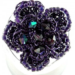 Big Bold Statement Costume Jewellery, Purple Bead Crochet Beaded Fashion Flower Ring