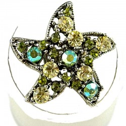 Costume Jewellery Rings, Fashion Women Girls Gift, Green & Yellow Diamante Star Cute Statement Ring