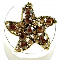 Cute Costume Jewellery Rings, Fashion Women Girls Gift, Brown & Gold Diamante Star Statement Ring