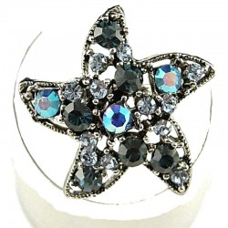Costume Jewellery Rings, Fashion Women Girls Gift, Navy & Blue Diamante Star Cute Statement Ring