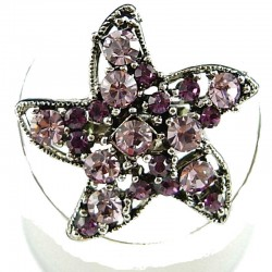 Costume Jewellery Rings, Fashion Women Girls Gift, Purple & Lilac Diamante Star Cute Statement Ring