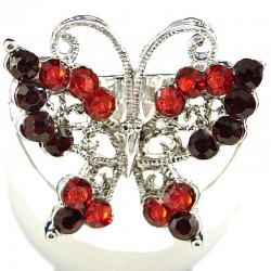 Red & Burgundy Diamante Butterfly Statement Ring