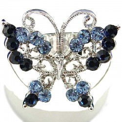 Cute Costume Jewellery Rings, Fashion Women Girls Gift, Blue & Navy Diamante Butterfly Statement Ring