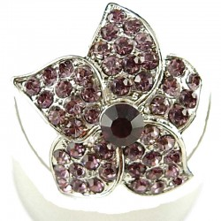 Feminine Statement Costume Jewellery Rings, Fashion Women Girls Gift, Purple Diamante Blossom Flower Ring