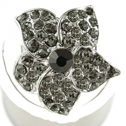 Feminine Statement Costume Jewellery Rings, Fashion Women Girls Gift, Grey Diamante Blossom Flower Ring