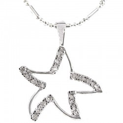 Costume Jewellery, Women's girls Gift, Clear Diamante Elegant Star Pendant & Chain Fashion Necklace