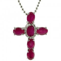 Fashion Women's Girls Gift, Chic Costume Jewellery, Fuchsia Pink Diamante Cross Pendant Necklace