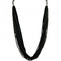 Jet Black Bead Multi-strand Long Necklace