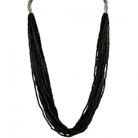 Jet Black Bead Multi-strand Long Necklace