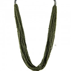 Brass Green Bead Multi-strand Long Necklace