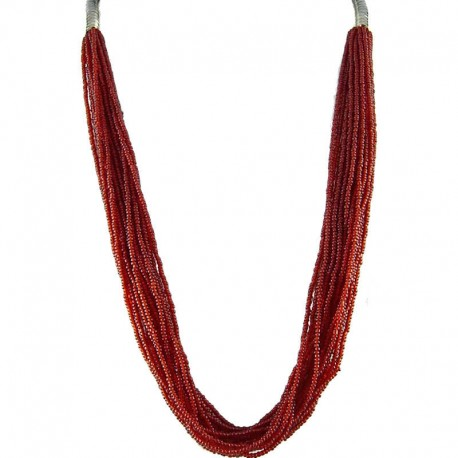 Chic Multi Row costume Jewellery, Women's Gift, Burgundy Red Bead Multi-strand Long Necklace