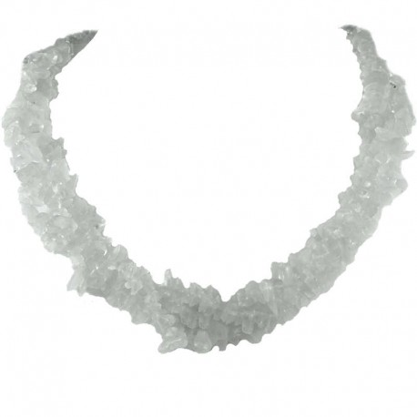 Semi-Precious Stone Bead Costume Jewellery, Clear Natural Stone Rock Crystal Twisted Necklace