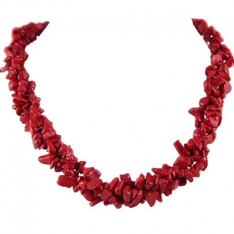 Semi Precious Gemstone Bead Costume Jewellery, Red Natural Stone Red Jasper Twisted Necklace