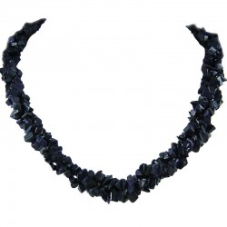 Semi Precious Gemstone Bead Costume Jewlellery, Black Natural Stone Onyx Twisted Necklace