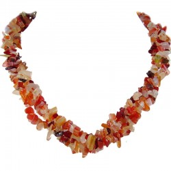 Semi Precious Gemstone Bead Costume Jewellery, Orange Natural Stone Carnelian Twisted Necklace