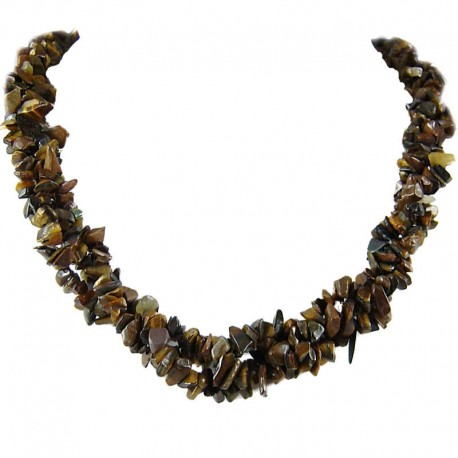 Semi Precious Gemstone Bead Costume Jewellery, Brown Natural Stone Tigers Eye Twisted Necklace