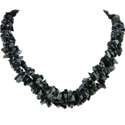 Semi-Precious Gemstone Bead Costume Jewellery, Black & White Natural Stone Snowflake Obsidian Twisted Necklace