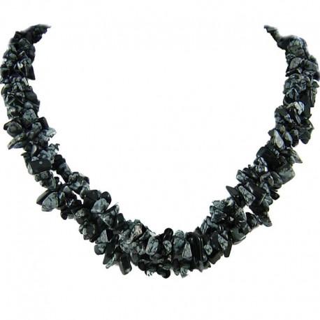 Semi-Precious Gemstone Bead Costume Jewellery, Black & White Natural Stone Snowflake Obsidian Twisted Necklace