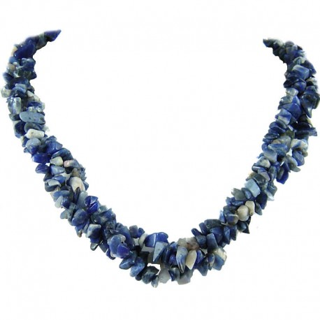 Fashion Semi-Precious Gemstone Bead Costume Jewellery, Navy Blue Natural Stone Sodalite Twisted Necklace
