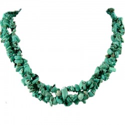 Semi Precious Gemstone Bead Costume Jewellery, Blue Natural Stone Turquoise Twisted Necklace