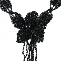 Jet Black Crochet Large Flower Tassel Statement Necklace