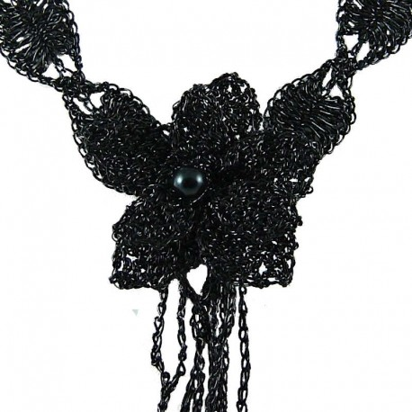 Big Bold Handcrafted Fashion Jewellery, Jet Black Crochet Large Flower Statement Costume Necklace