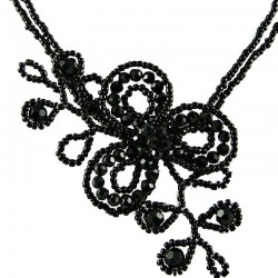 Jet Black Bead Floral Angel Beaded Flower Necklace
