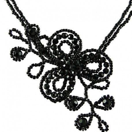 Fashion Handcrafted Costume Jewellery, Handmade Women's Black Bead Floral Angel Beaded Flower Necklace