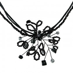 Black Beaded Flower Cord Necklace