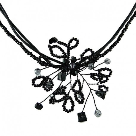 Fashion Handmade Chic Costume Jewellery for party dress, Handmade Women's Gift, Black Beaded Flower Cord Necklace