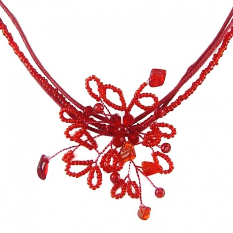 Handcrafted Bead Costume Jewellery for Wedding Party Dress, Women's Gift, Red Beaded Flower Cord Necklace